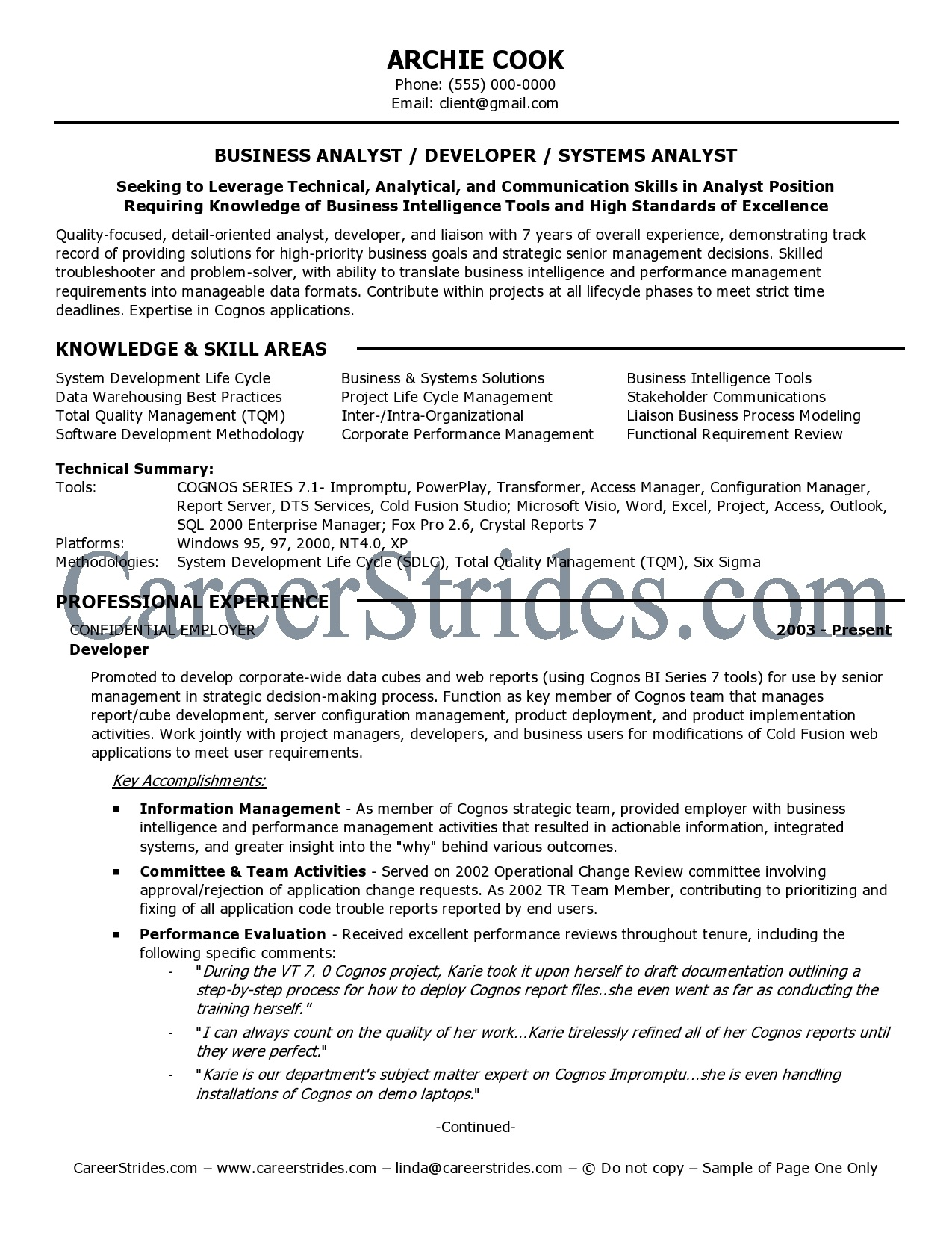 Awesome business analyst resume format