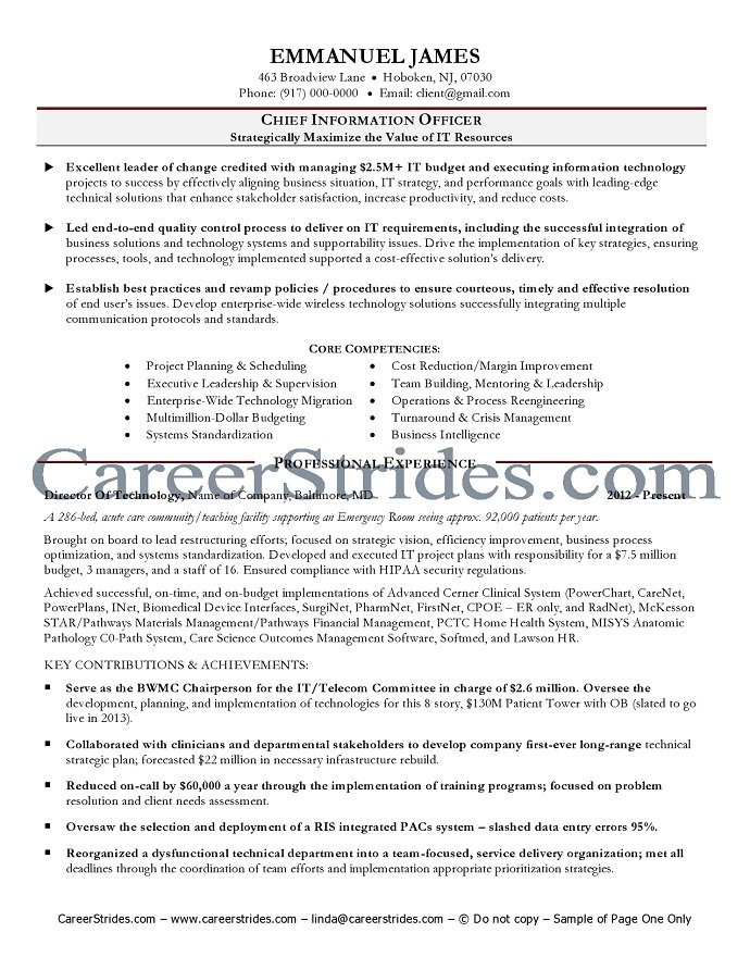 cio resume example  chief information officer resume