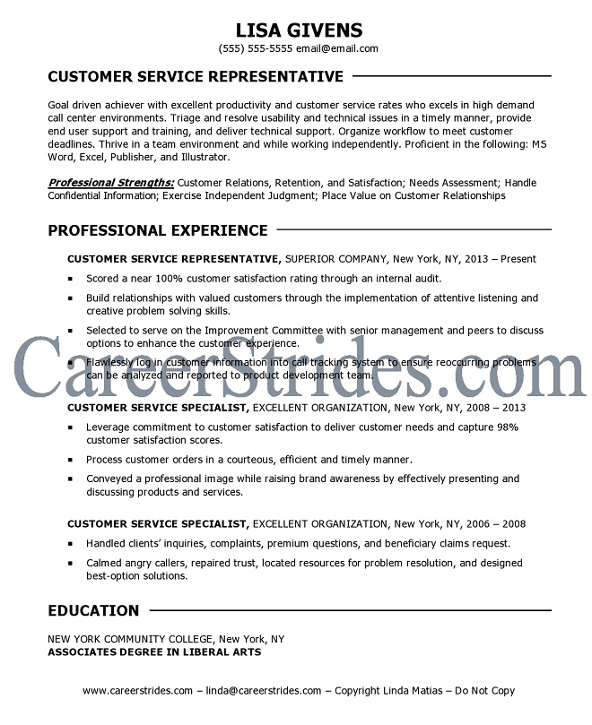 career objective sle for customer service