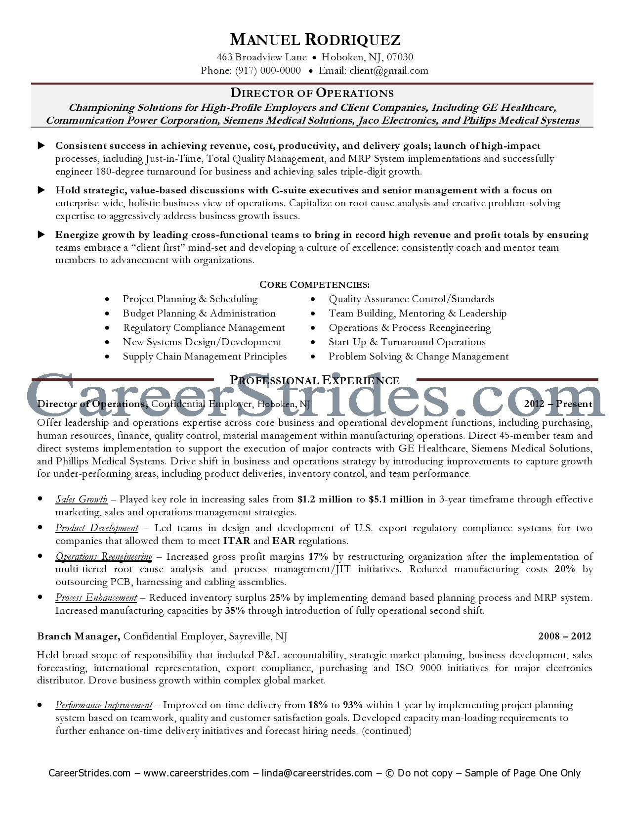business operations resume business operations manager