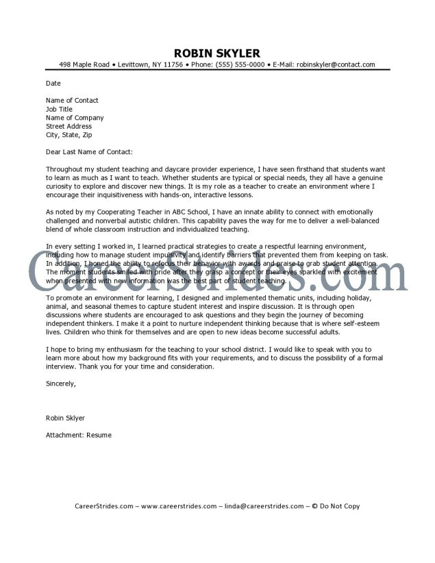 Teacher Cover Letter Samples Education Cover Letter Samples