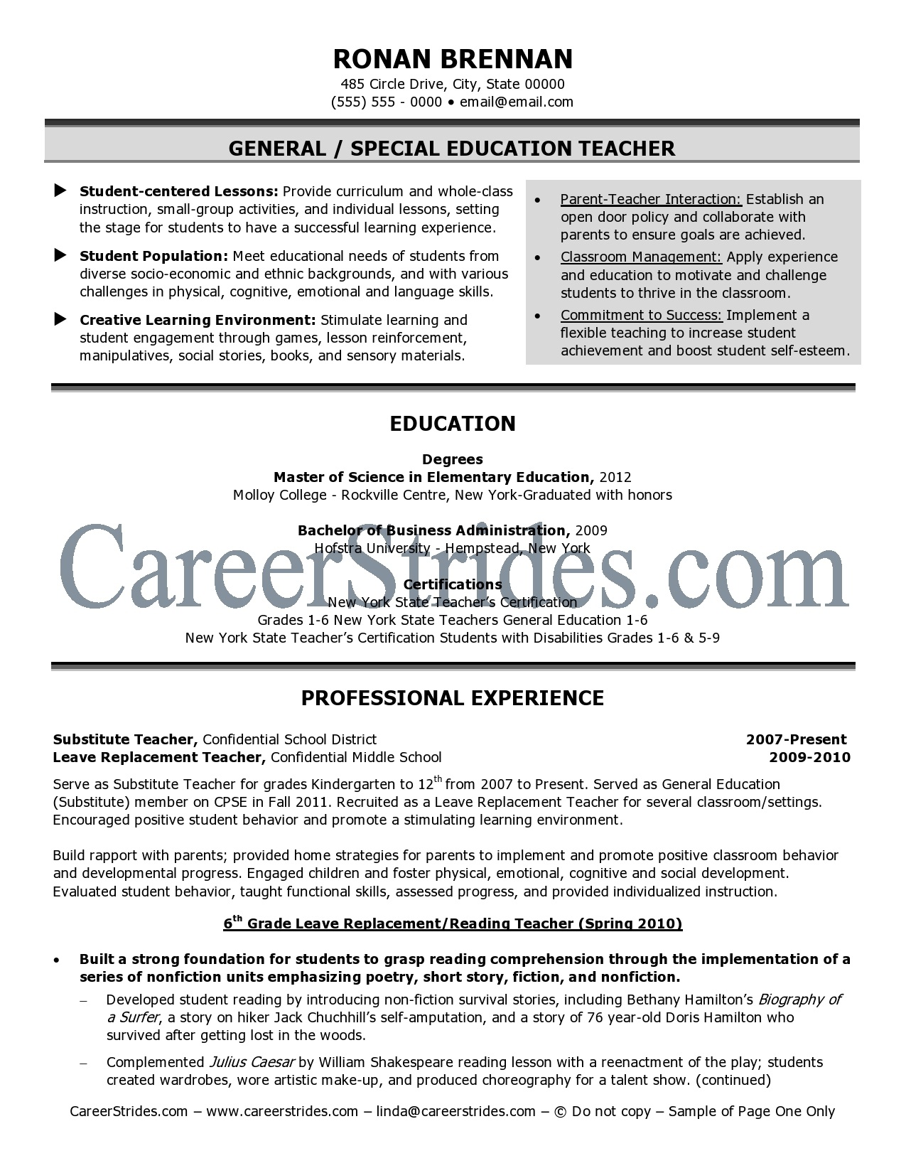 Teacher Resume Samples Examples