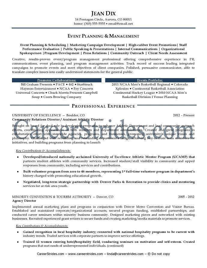 event manager resume sle exle