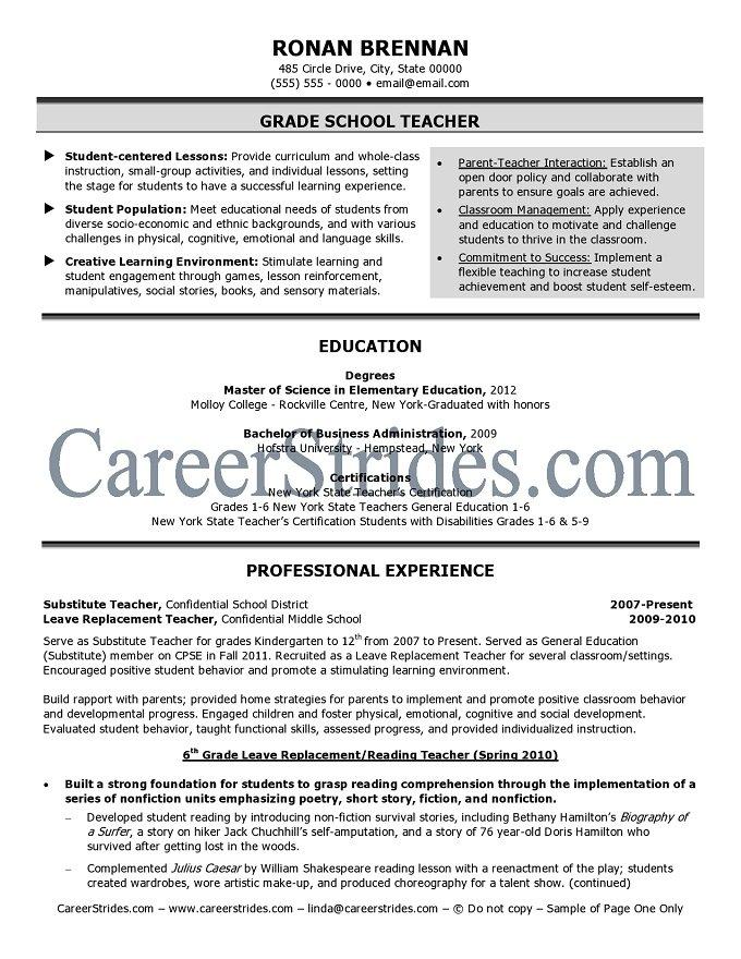 teacher resume samples  examples grade school resume sample