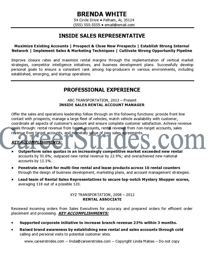 inside sales resume sle exle