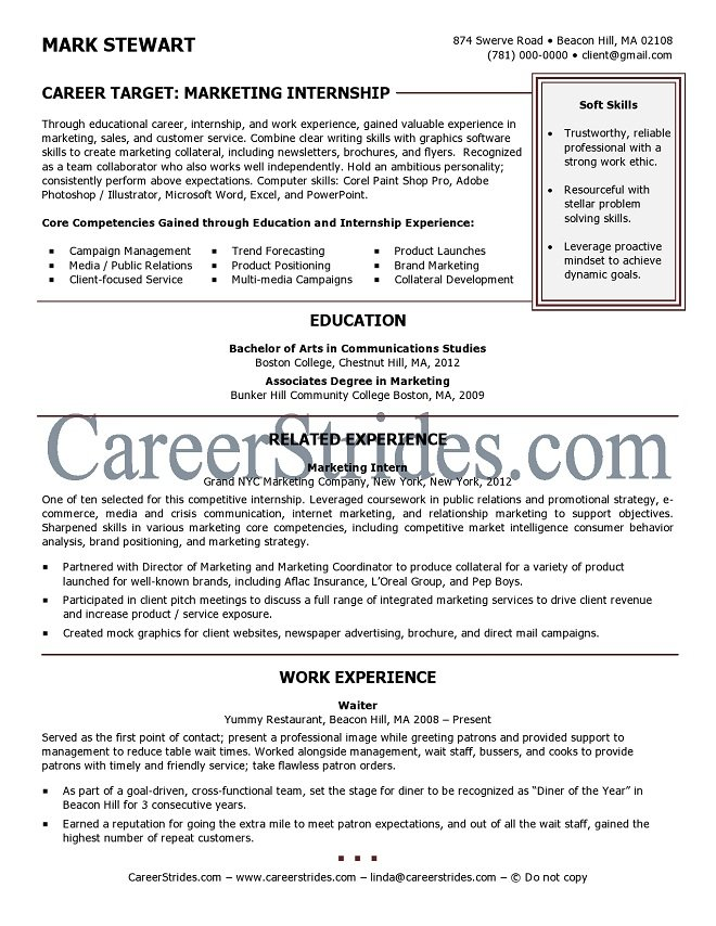 Resumes for internships