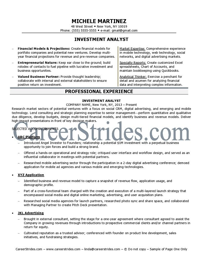 investment analyst resume sample example