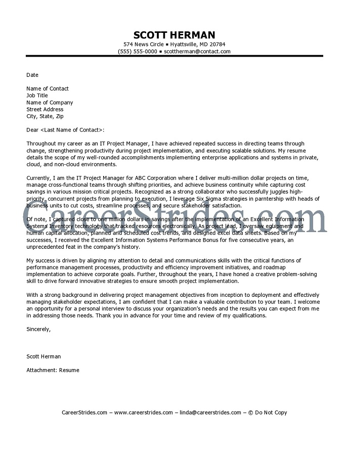 management cover letter Looking for your next management position use this guide to help you craft a top-notch cover letter.
