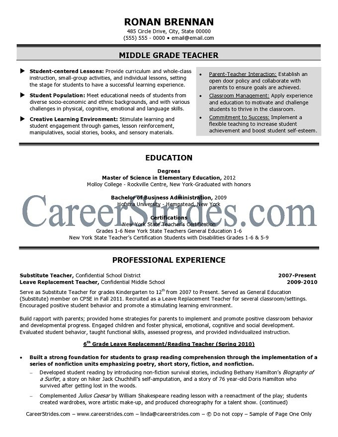 Resume middle school science teacher