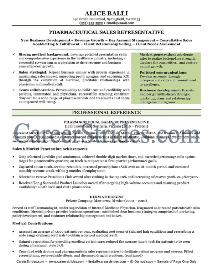 pharmaceutical resume sample example by a nationally certified resume writer