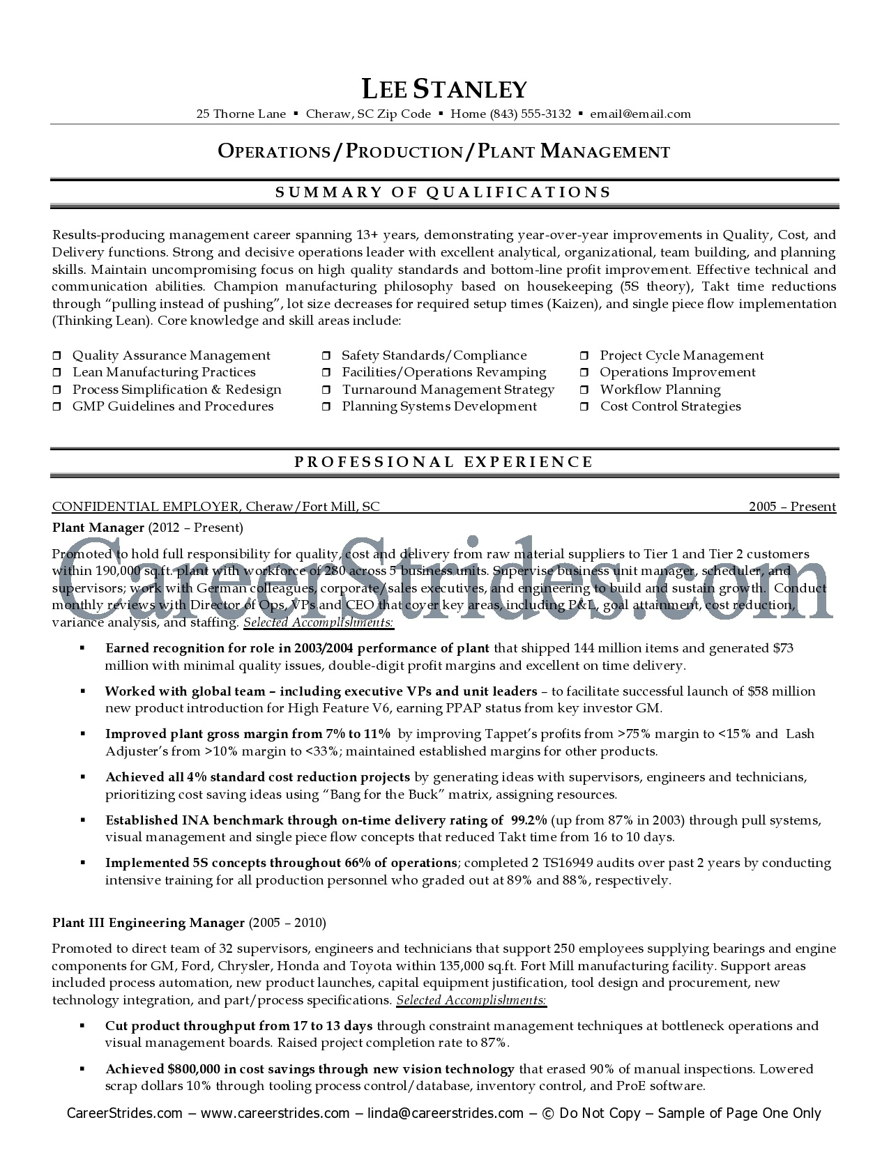 plant manager resumes