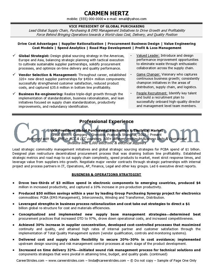 Purchasing Resume Sample 25.07.2017