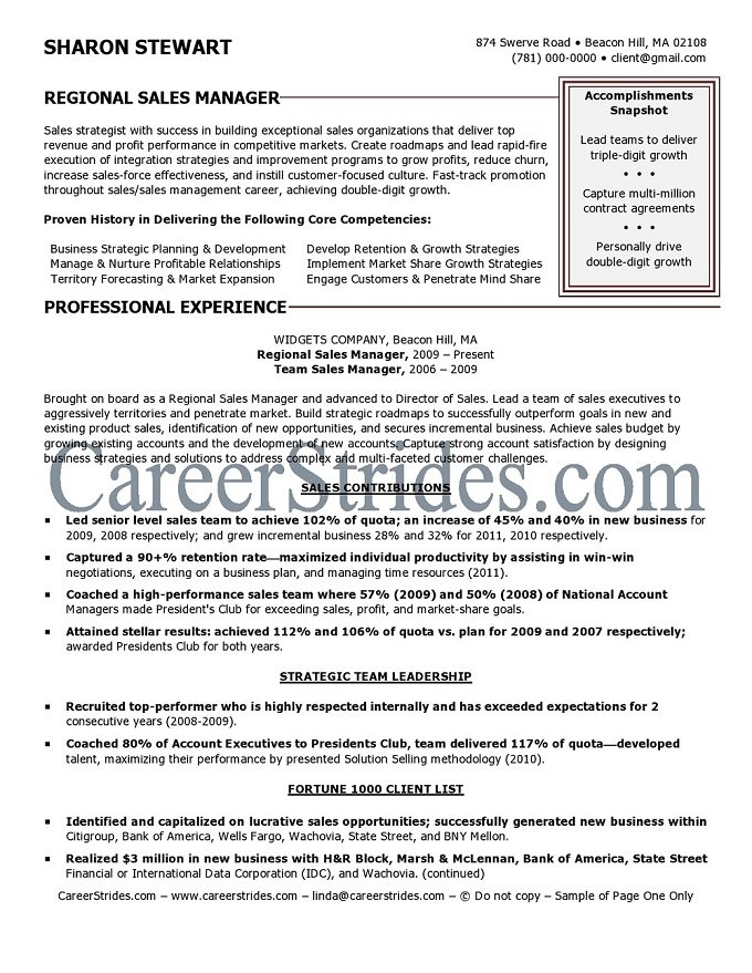 regional sales manager resume sample example