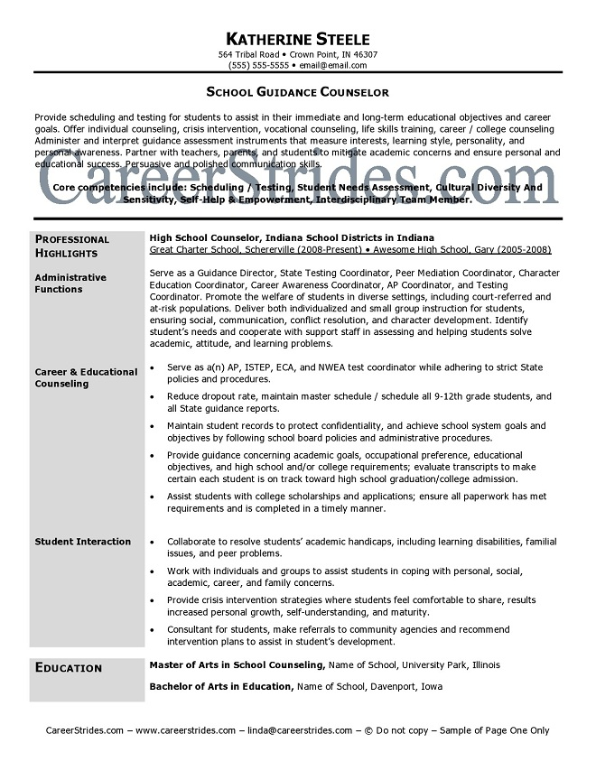 Guidance Counselor resume mla format sample