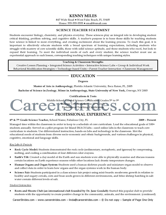 science teacher resume sample example