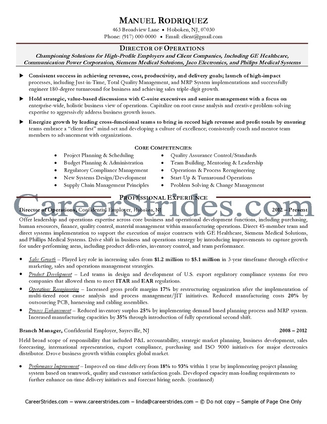 Senior manager resume format