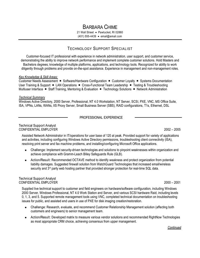 technical support resume sle